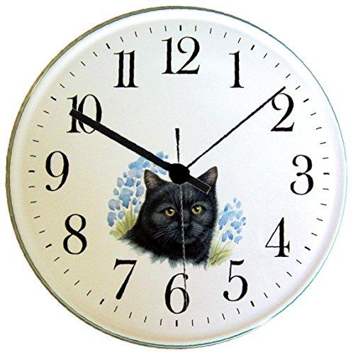 EVIT Artline 070315 Keramik Wanduhr Katze schwarz, Bernstein Augen Hellblaurand handgemalt Quarzuhr