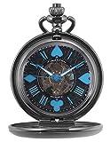KS Reloj de Bolsillo Hombre con Cadena antiguos Steampunk Esqueleto Mecánico con Caja de Regalo KSP083