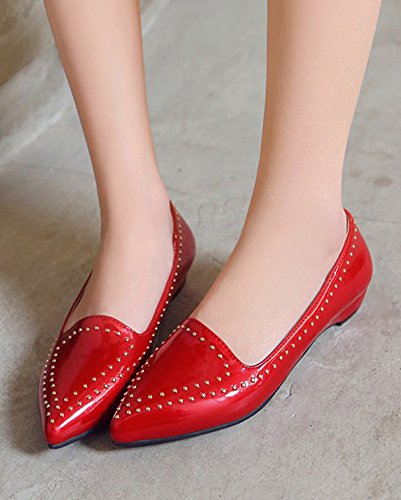 Aisun Femme Mode Bout Pointu Rivets à Talon Plat Ballerines Rouge