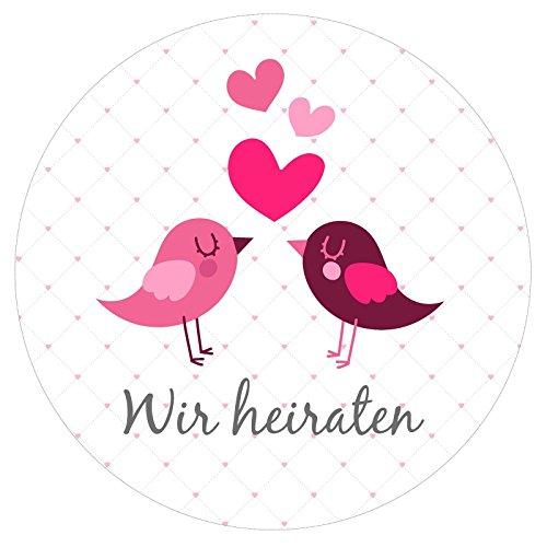 72 Aufkleber Hochzeit WIR HEIRATEN Sticker - ideal für Dekoration, Tischdeko, Einladung, Karten, Buch - 3,8 x 3,8 cm - Love Bird Muster mit Herzen in Rosa Rot