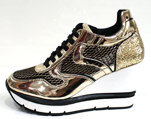 Voile Blanche Sneaker Donna Jessie Zeppa Rialzo Cm 9 Nero Oro-38