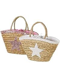 Bolsa capazo fibra natural estrella 58x30x17 cm 2 colores rosa/blanco (Surtido a elegir