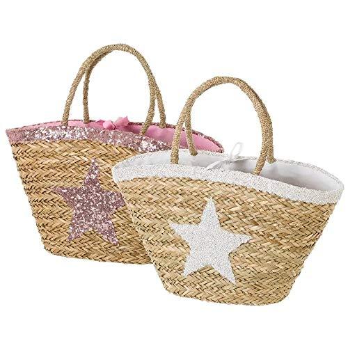 Bolsa capazo fibra natural estrella 58x30x17 cm 2 colores rosa/blanco (Surtido a...