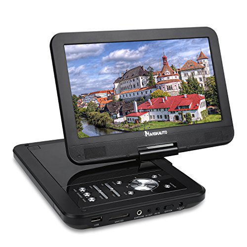 NAVISKAUTO 10.1 inch Portable DVD Player HD LCD Wide View Screen Real 5 Hours Built-in Rechargeable Battery ,Support CD MP3 USB/SD TF Card ,Include Headrest Mount Case Car Charger