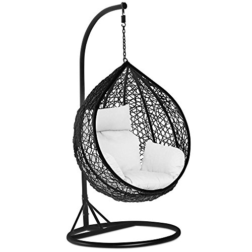 Yaheetech Rattan Swing Egg Chair Garden Patio Indoor Outdoor Hanging Chair with Stand Cushion and Cover,Black,150kg Capacity