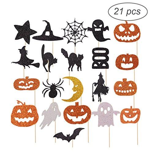 oween Kuchen Topper/Cupcake Picks, Kürbis/Geist / Hexe/Spinne Picks, geeignet für Halloween Kuchen Dekoration ()