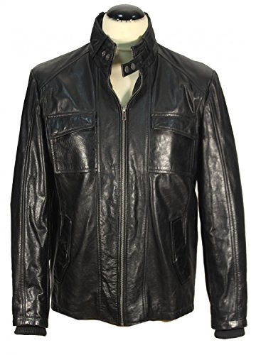 Carbona - Lammnappa Herrenjacke LackLook Leder Jacke Biker Style schwarz Lederjacke Schwarz