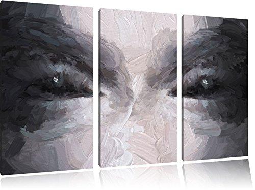 Kunst Pinsel Effekt 3-Teiler Leinwandbild 120x80 Bild auf Leinwand, XXL riesige Bilder fertig gerahmt mit Keilrahmen, Kunstdruck auf Wandbild mit Rahmen, gänstiger als Gemälde oder Ölbild, kein Poster oder Plakat ()