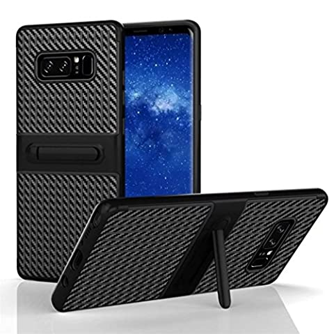 Culater® Shockproof Hybrid TPU + PC Full Cover Case Stand for Samsung Note 8 (Black)