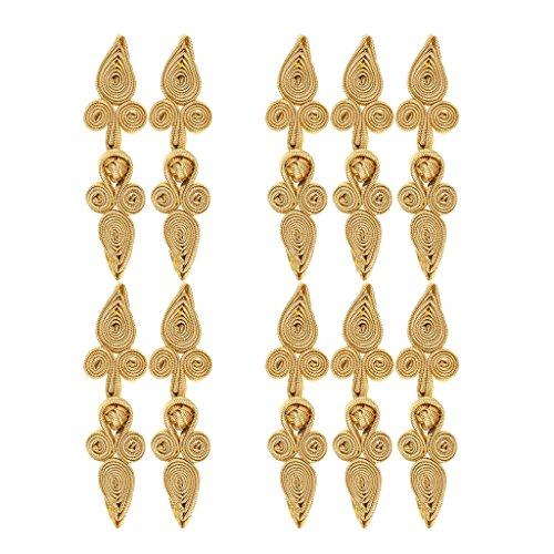 D DOLITY 10 Paare Traditionellen Herz Chinesischen Knoten dekorative Handwerk für Kleidung - Gold, 79 x 22 x 8 mm