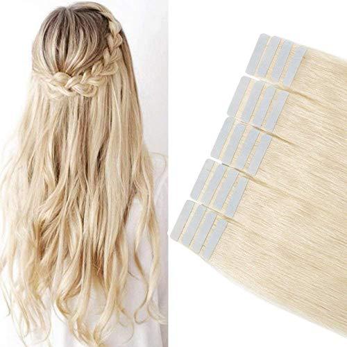 30-60cm hair extension adesive capelli veri biondi - 35cm 2g/pcs 20 fasce - 100% remy human umani lisci naturali(14