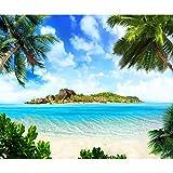 decomonkey | Fototapete Strand 250x175 cm XL | Tapete | Wandbild | Wandbild | Bild | Fototapeten | Tapeten | Wandtapete | Wanddeko | Wandtapete | Insel Meer Palmen Sonne Natur Landschaft