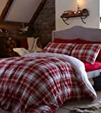 Cheapest Catherine Lansfield Home Tartan 100% Brushed Cotton Flannelette Duvet Cover Set, Red, Double on