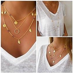 Bohemio collar de mujer, Sannysis Simple Imitar Gargantilla Bib de Plata (01)