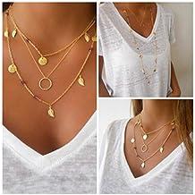 Bohemio collar de mujer, Sannysis Simple Imitar Gargantilla Bib de Plata