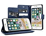 MyGadget Flip Case Klapphülle für Apple iPhone 6s 6 mit 5X Kartenfach & Standfunktion - Wallet Hülle aus Kunstleder (PU) Schutzhülle Book Cover in Blau