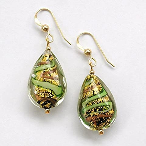 Diana Ingram green pastel on gold Murano glass short teardrop