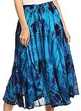 Sakkas 18221 - Justina Womens Dance Midi Voller Kreis Tie-Dye Rock mit elastischer Taille - Türkis - OS