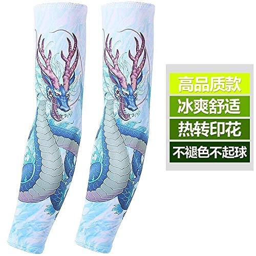 JinRui-Sport Tattoo Sleeve Fahren und Reiten im Freien Sonnenschutzhüllen, alle Meter, blaues Wasser Drachen 2 - Wasser Meter Kostüm