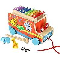 Xilofono di Legno Camion con Animali Legno Strumento Giocattoli Musicali Giochi Trainabili per Bambini 3 Anni+
