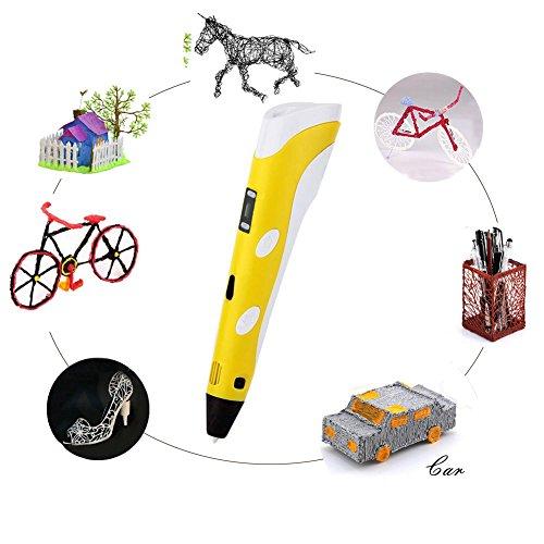 3D Pen 3D-Zeichnen und Kritzeln Erstaunliche Geschenk für Kinder 3D Drucker Stift zur Erstellung von dreidimensionalen Zeichnungen, Kunstwerken, Modellen, von Hand 3D Stift Druckerstift Pen 3 x 5=15M 1.75mm PLA enthalten (Gelb) - 2