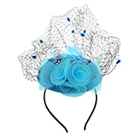 Coolwife Fascinator Womens Pillbox Hat British Bowler Hat Flower Veil Wedding Hat Tea Party Hat (Sky Blue)(Size: One Size)