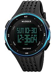 Mudder Montres de Sport Montres Digital LED Hommes Bleu HorlogeÉlectroniqueExtérieure