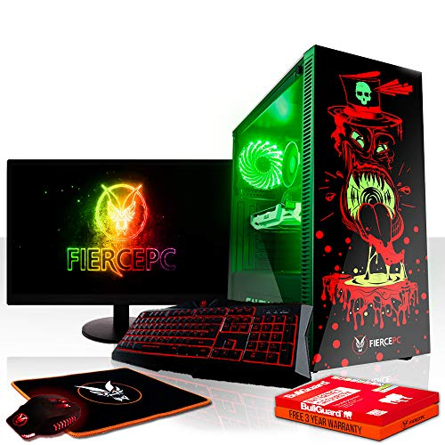 Fierce Gobbler RGB Gaming PC Bundeln - Schnell 3.5GHz Quad-Core Intel Core i5 7400, 2TB Festplatte, 8GB 2400MHz, NVIDIA GeForce RTX 2070 8GB, Tastatur (VK/QWERTY), Maus, 24-Zoll-Monitor 833779