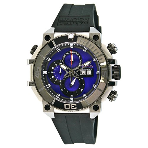 Nautec No Limit Herren-Armbanduhr XL Seabridge Chronograph Quarz Kautschuk SB-RBSTIPBK-BL
