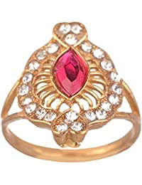 ARAFA Jewelry Gold Alloy Ring For Women - Size: 3 (AZ33) With Australian Diamond And Pink Diamond/Latest Design...