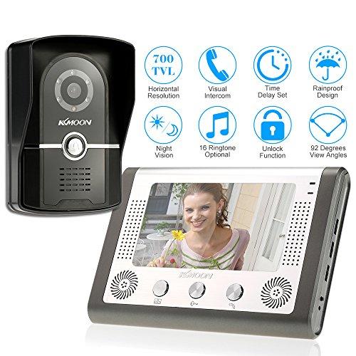 KKmoon 7 Pollici Cablata Sistema di Video Telefono del Portello Citofono Visivo Campanello con 1*800x480 Interno Monitore + 1*700TVL Esterno Telecamera per Sorveglianza Domestica