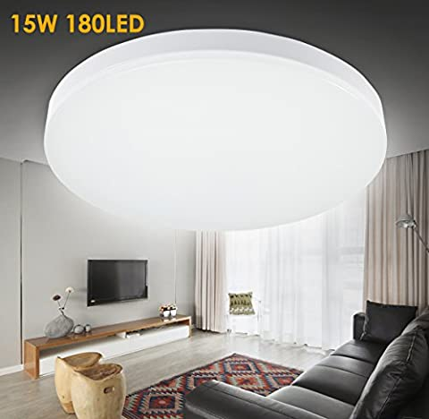 GreenClick Ceiling Lights LED Flush 15W 5000K High Quality 12.99 Inch 1050-1200lm Cool White LED Recessed Ceiling Lights for Living Room Bedroom Hallway