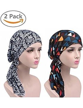 EINSKEY Turbante chemioterapia, 2PCS Turbante donna sciarpe testa confortevole per Make-up, Sonno, Perdita dei...