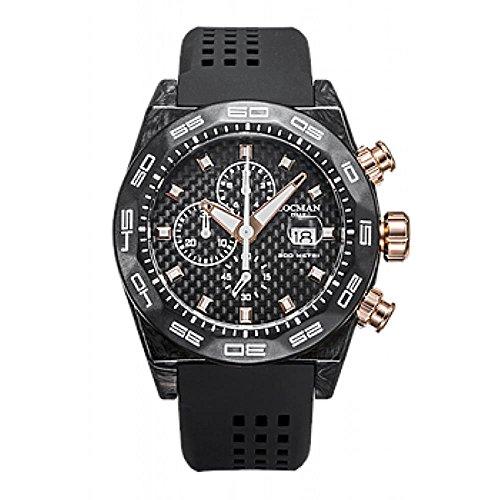 Locman Men's 46mm Black Rubber Band Carbon Fiber Case Quartz Analog Watch 0218C09R-CWCBRGS