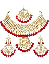 Sukkhi Gold Plated Kundan Pearl Fancy Choker Necklace Set Traditional Jewellery Set with Earrings for Women & Girls (Red)
