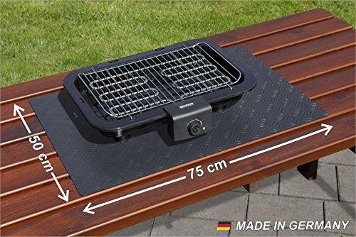 Paderbest24 Grillunterlage Bodenschutzmatte Schwarz mit Riffelblechoptik 75x50cm