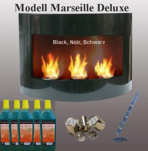Bio Ethanol Cheminee Marseille Deluxe - Choisissez parmi 6 couleurs (NOIR)