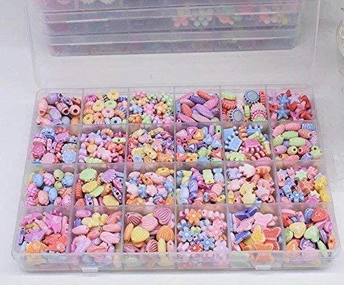 Febbya Kinder Perlen,650 Stück Armband Perlen Ketten Perlen Bunte für Mädchen Kinder Basteln Spielzeug DIY Perlenschmuck mit 10m Schnur Acryl (Perlenkette Mädchen Für)