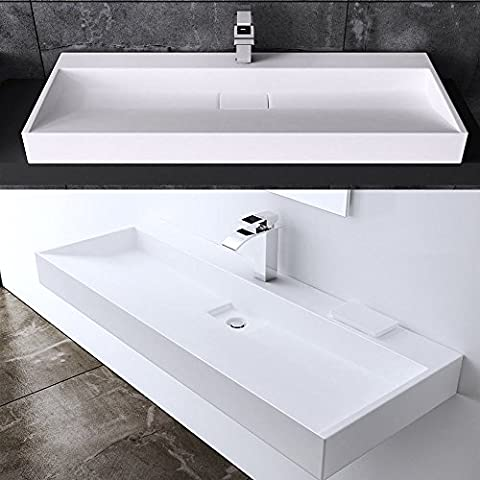 Durovin Contemporary Wash Basin Solid Stone Resin Bathroom Sink Wall Hung Or Counter Top Mount Modern Hotel 700 x 460 x 130mm (Basin Only)