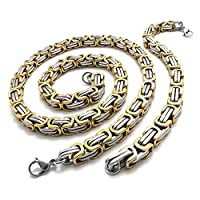 TEMEGO Jewelry Mens Womens Stainless Steel 2-Tone Link Chain Biker Necklace Wide Heavy Bangle Bracelet Set, Golden Silver