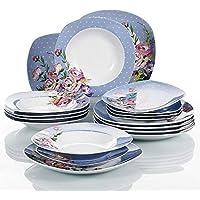 VEWEET 'Hannah' Juegos de vajilla 18 Piezas vajillas de Porcelana | vajilla para 6 Personas | Cada uno con 6 Platos de Postre, 6 Platos de Sopa y 6 Plato Plano