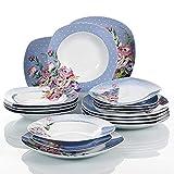 VEWEET Hannah Juegos de Vajillas 18 Piezas de Porcelana con 6 Platos, 6 Platos Hondos y 6 Platos de Postre para 6 Personas