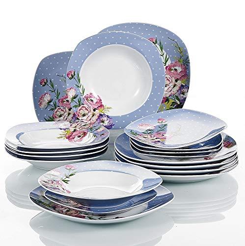 VEWEET Hannah Juegos de Vajillas con bajo precio 18 Piezas de Porcelana con 6 Platos, 6 Platos Hondos y 6 Platos de Postre para 6 Personas