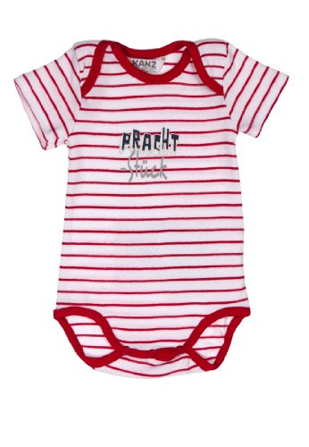 Kanz Unisex - Baby Body 1/4 Arm, Gestreift, Gr. 74, Rot (Chinese Red)