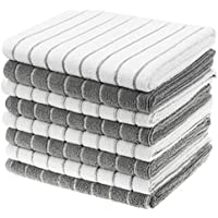 Gryeer Microfibre Tea Towels - Pack of 8 (Stripe Designed Grey and White Colours) - Soft, Super Absorbent and Lint Free Kitchen Towels, 45 x 65 cm