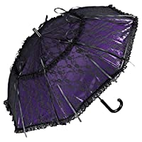 VON LILIENFELD Bridal/Wedding Umbrella Luna Black/Purple/White