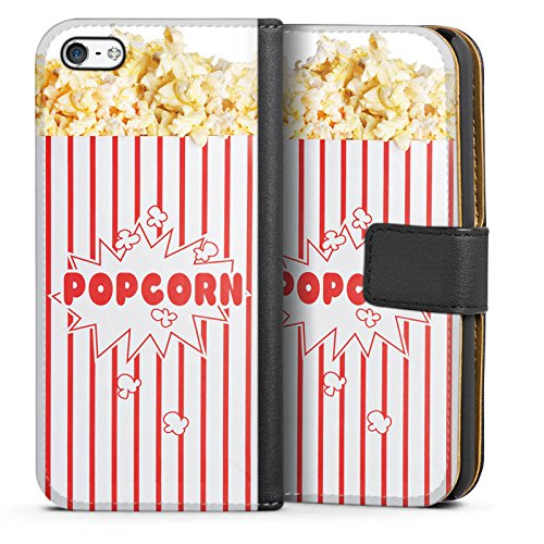Tasche kompatibel mit Apple iPhone 5c Leder Flip Case Ledertasche Popcorn Kino Design - 5c Case-kino Iphone