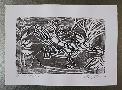 Die schwarze Schildkröte, Linographie - Original Kunstgravur von Davide Pacini von Hand auf Fabriano Papier gedruckt, Abmessungen cm 21,2x29,5x0,1 cm.Hergestellt in Italien, Toskana Lucca.