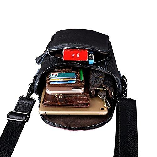 Genda 2Archer Bolso de Hombro Pequeño Cuero Genuino Bumbag Escalada Bolsa de Cintura (18 cm * 10 cm * 23 cm) (Negro)
