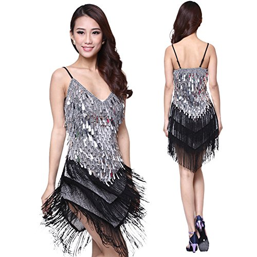 Professional Latin Dance Kostüme Fluss SU Liang Wettbewerb Kostüme Leistung,Schwarz und Silber,freie (Kostüme Dance Latin Professional)